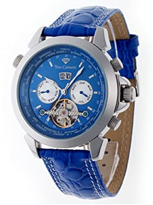 Yves Camani Herrenarmbanduhr XL Worldtimer Stahl Blau