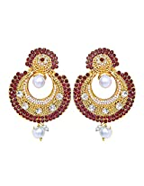 Surat Diamonds Gold-Plated Dangle & Drop Earring For Women Red - ASIN