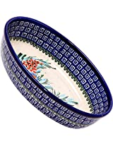 Polish Pottery Ceramika Boleslawiec-1210/169 9-2/3 by 6 7/10-Inch Oval Mirek Baker 2, Royal Blue Patterns, 5 Cups