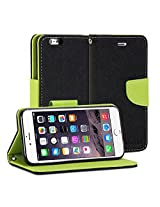 iPhone 6s Plus Case, GMYLE Wallet Case Classic for iPhone 6s Plus - Black & Wasabi Green PU Leather Slim Stand Case Cover ...
