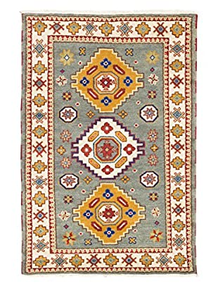 eCarpet Gallery One-of-a-Kind Hand-Knotted Royal Kazak Rug, Cream/Cyan, 4' 1