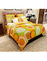 Home Candy 144 TC Elegant Circles Cotton Double Bedsheet with 2 Pillow Covers - Orange (CTN-BST-264)