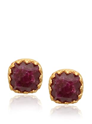 Kevia Rococo Ruby Cushion Post Earrings
