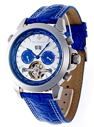 Yves Camani Herrenarmbanduhr XL Worldtimer Silber/Blau