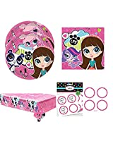 Littlest Pet Shop Party Pack For 16 Guests, Lunch Plates, Napkins, Tablecover And Label Stickers