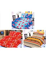 Nature Made Pack of 3 Orange & Blue & Red Printed Double Bed Sheets 250 TC