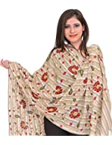 Exotic India Crewel Embroidered Stole with Crystals and Sequins - Color FogColor Free Size