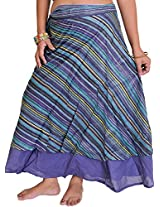 Exotic India Wrap-Around Layered Midi Skirt with All-Over Woven Stripes - Color Skipper BlueGarment Size Free Size
