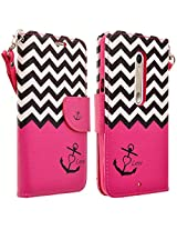 Motorola Driod Maxx 2 Case - Magnetic PU Leather Flip Wallet Folio Pouch Case Cover With Fold Up Kickstand and Detachable Wrist Strap For Moto Driod Maxx 2 / X Play - Hot Pink Anchor