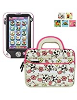 Evecase '' Kids Tablet Sleeve Case, Cute Cow Themed Neoprene Travel Carrying Slim Bag w/ Dual Handle and Accessory Pocket - White w/ Pink Trim
