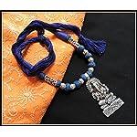 Ganesha Pendant Thread Necklace - Blue