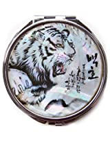 Compact Makeup Mirror Cosmetic Korean Mother Of Pearl Lacquered White Tiger #31