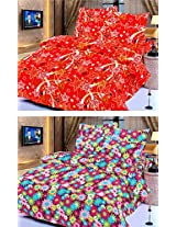 Nature Made Pack of 2 Maroon & Red Printed Double Bed Sheets 250 TC