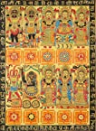 Ten Mahavidyas with Yantras - Madhubani Painting on Hand Made Paper Treated with Cow Dung - Folk Pai