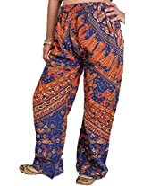 Exotic India Casual Trousers from Jodhpur with Printed Marriage Procession - Color True NavyGarment Size Free Size