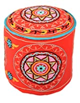 Trendy Ottoman Red Cotton Floral Embroidered Pouf Cover By Rajrang