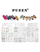 PUEEN Nail Art Water Tattoo Sticker Collection WS2 - 33 Packs All Different Designs (Over 600 Stickers) Glitter Black & White & Colorful Rhinestones Flowers Hearts Laces Nails Decal Decorations