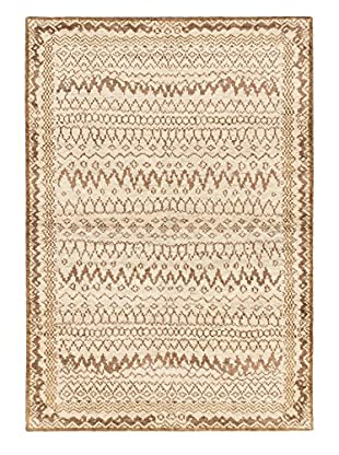 Hand-Knotted Royal Maroc Wool Rug, Brown/Cream, 4' x 5' 10
