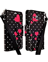 LG Leon LTE Case / LG Tribute 2 / LG Risio / Power L22C / LG Sunset / Destiny L21G (StraightTalk), Deluxe Pu Leather Folio Wallet Flip Case Cover With Kickstand For LG Leon LTE Case / LG Power L22C - POLKA DOT HEART VINES