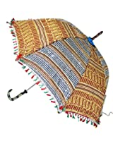 Indian Ethnic Attractive Embroidered Sequins Work Silk Umbrella Parasol 30 X 34 Inches