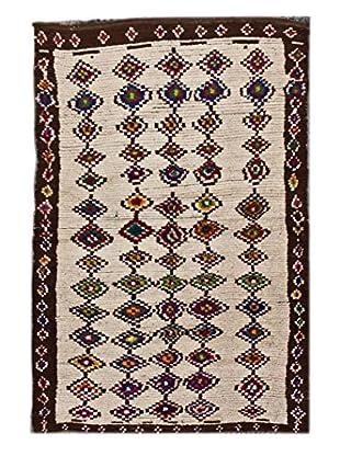 nuLOOM One-of-a-Kind Hand-Knotted Amina Berber Shag Ikat Rug, Cream, 4' 9