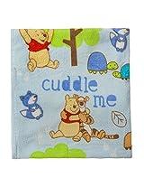 Disney Winnie The Pooh Plush Printed Baby Blanket, Blue