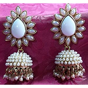 Bollywood Replica Aashiqui 2 Trendy Jhumla Ear rings White Colored Polki Pearls by Shree Mauli Creation