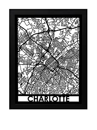 Cut Maps Charlotte Framed 3-D Street Map