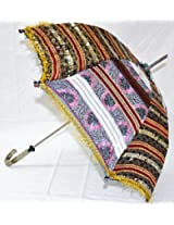 Indian Traditional Magnificent Embroidery work Sequins Work Cotton Umbrella Parasol 30 X 34 Inches