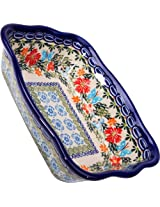 Polish Pottery Ceramika Boleslawiec Fala Baker Small, 7-3/4-Inch by 6-1/8-Inch, 3 Cups, Royal Blue Patterns with Red Cornflower and Blue Butterflies Motif