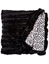 BESSIE AND BARNIE Pet Blanket, X-Large, Versailles Pink/Black Puma with Ruffle