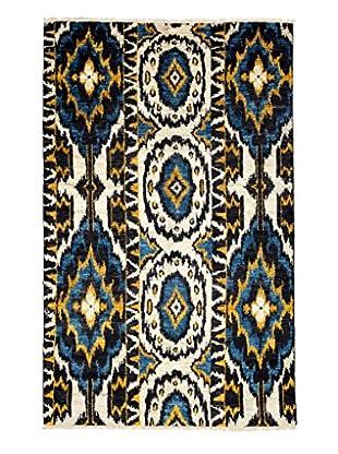 Darya Rugs Ikat Oriental Rug, Cream/Yellow, 4' 7