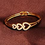 Rose Golden Three Love Heart Crystal Charm Bracelet