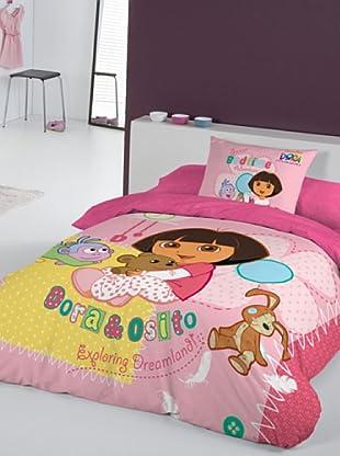 Euromoda Juego De Funda Nórdica Dora & Osito (Rosa / Fucsia)