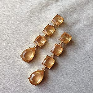 No Strings Attached Drops Of Amber Statement Earrings