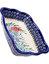 Polish Pottery Ceramika Boleslawiec 1208/169 7-3/4 by 6-1/8-Inch Fala Baker, Royal Blue Patterns, Small