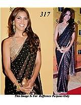 Black & Golden Embroidered Net Saree Worn By Lara Dutta (Bollywood Replica)