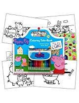 Peppa Pig Art Activity Set With Coloring Book Pages, Stickers & Twist Up Crayons, Also Included Is 1 Large 3 X3 Inch Separately Licensed Coloring Sticker