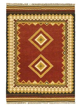 Hand Woven Ankara Wool Kilim, Red, 4' 7