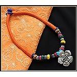 Orange thread choker with flower pendant