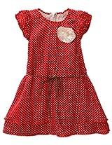 Oye Layered Satin Polka Dot Dress with belt