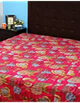 Fruit Printed Cotton Double Bed Size Bedspread with Thread Work
