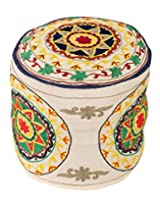 Indian Round White Ottoman Cotton Floral Embroidered Pouf Cover Decor By Rajrang