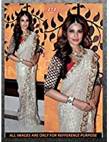 silver full net with zari work bipasha basu bollywood with blouse saree