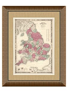 """Johnson and Ward Antique Map of England & Wales, 1860's, 28"""" x 34"""""""
