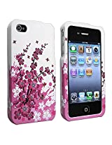 Crystal Hard Faceplate Cover Case With Pink and White Flower Design for Apple Iphone 4G 4 - Face Plate - Retail Packaging - Pink with White