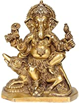 Six-Armed Ganesha Seated on Rat with Leg on a Lion Head - Brass Statue