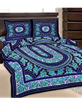 Grj India Blue And Green Cotton Double Bed Sheet Set