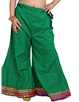 Exotic India Deep-Mint Palazzo Pants from Pilkhuwa with Printed Bootis a - Green