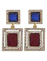 The Jewelbox Maroon & Blue Stone American Diamond Cocktail Square Earring
